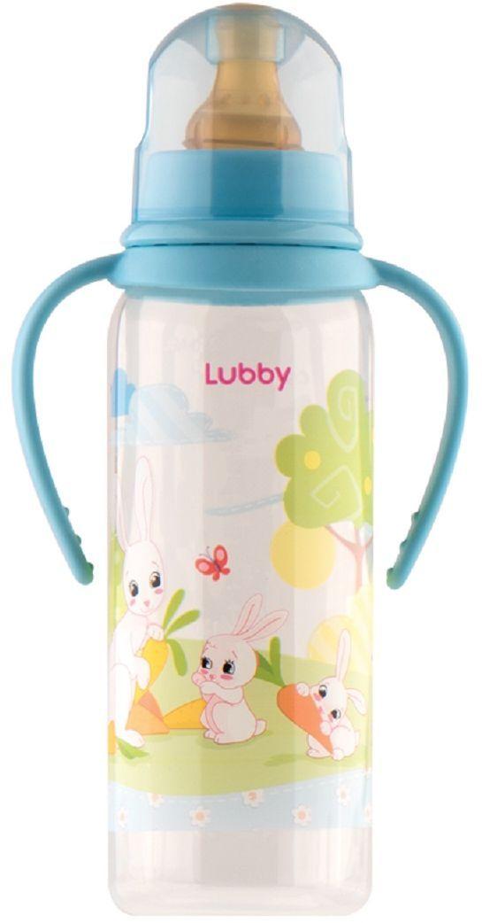 Lubby Бутылочка с латексной соской Веселые животные от 0 месяцев цвет голубой 250 мл lubby бутылочка для кормления с латексной соской веселые животные от 0 месяцев 125 мл