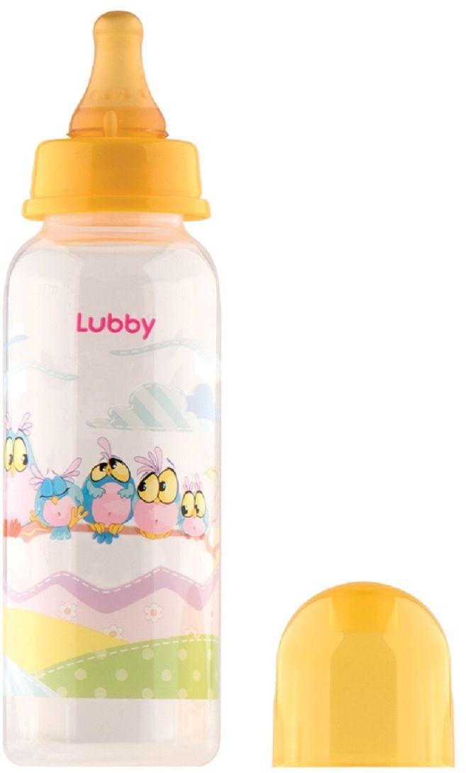 Lubby Бутылочка с латексной соской Веселые животные от 0 месяцев цвет желтый 250 мл lubby бутылочка для кормления с силиконовой соской малыши и малышки от 0 месяцев цвет зеленый голубой 250 мл