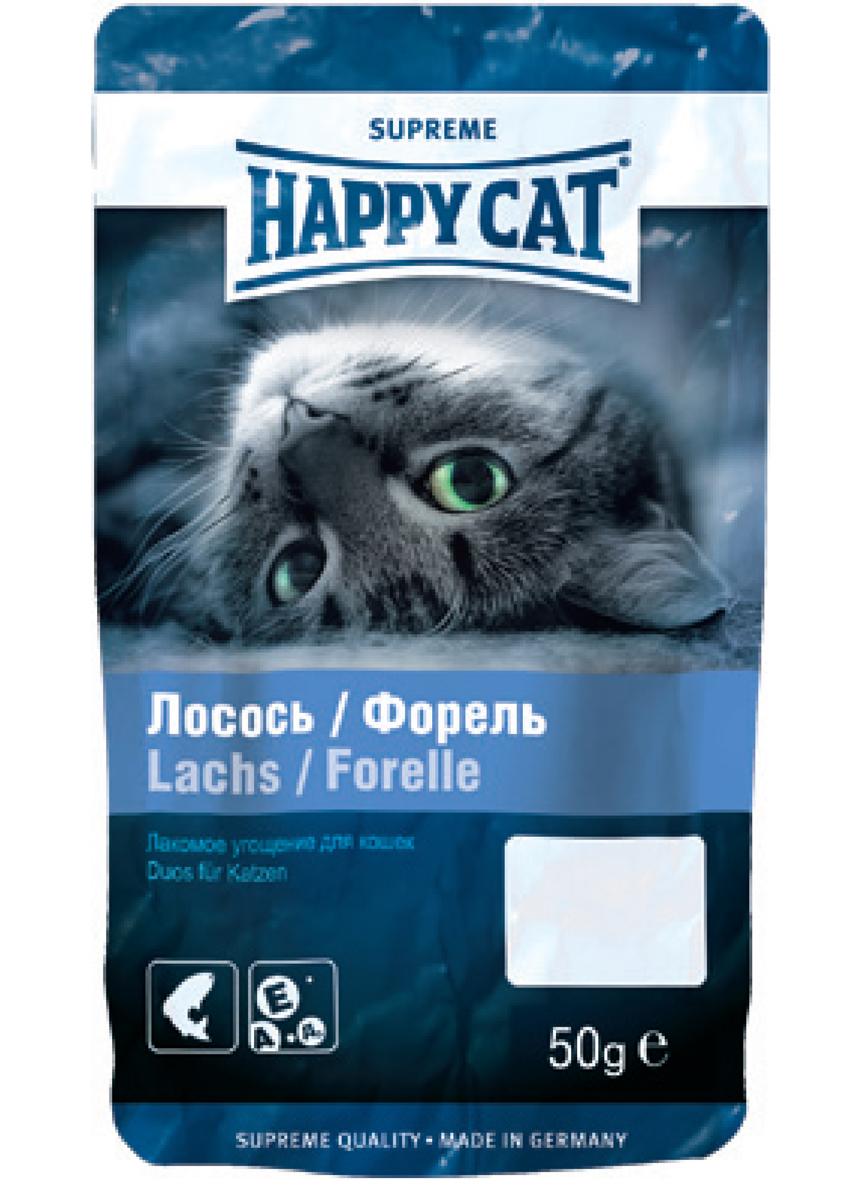 Лакомство для кошек Happy Cat, угощение с лососем и форелью, 50 г happy cat лакомство happy cat подушечки для стимуляции двигательной активности и снятия стресса с кошачьей мятой 50 г