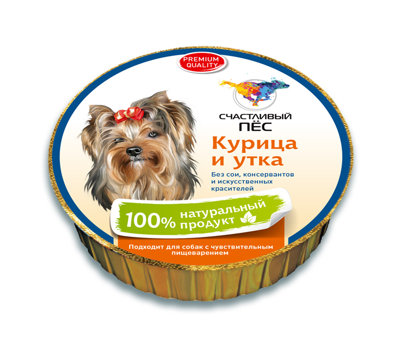 """Консервы """"Счастливый пес"""" для собак, паштет с курицей и уткой, 125 г"""