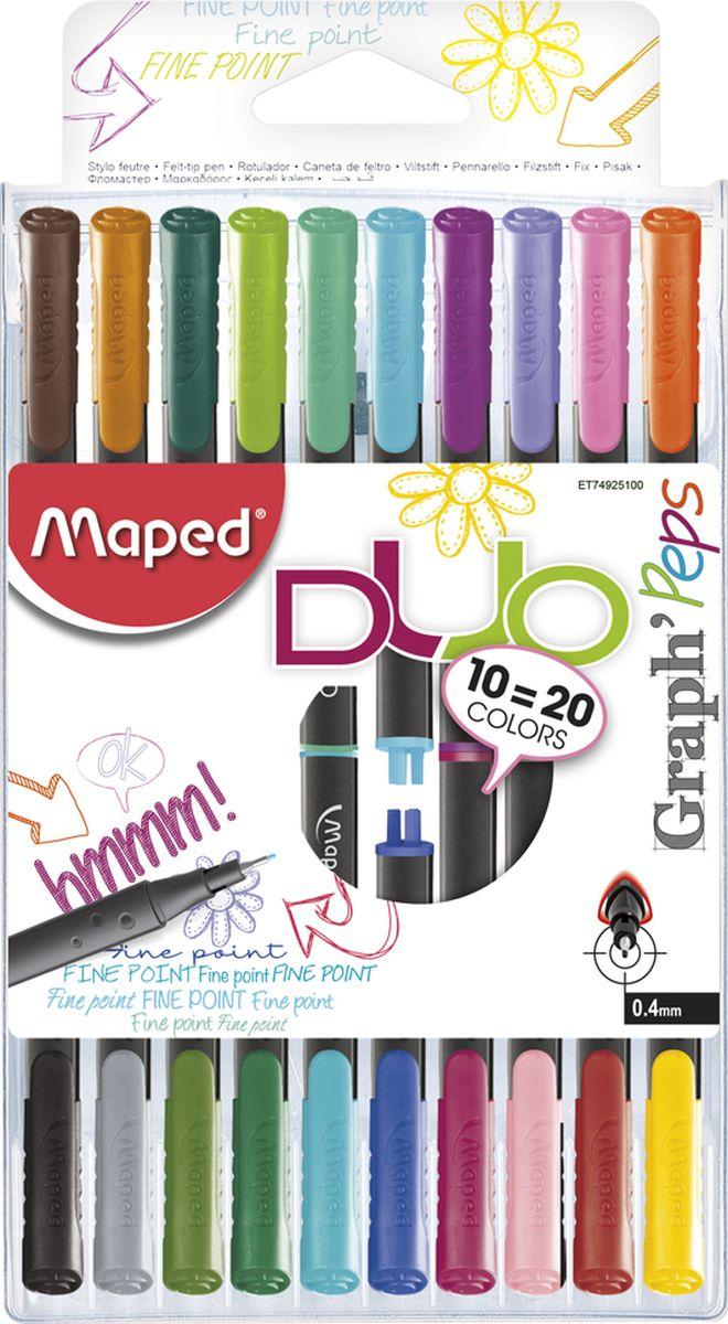 Maped Набор ручек капиллярных Graph Peps Duo двусторонние 20 цветов 10 шт maped набор капиллярных ручек graph pep s duo 10 штук 20 цветов 0 4 мм maped