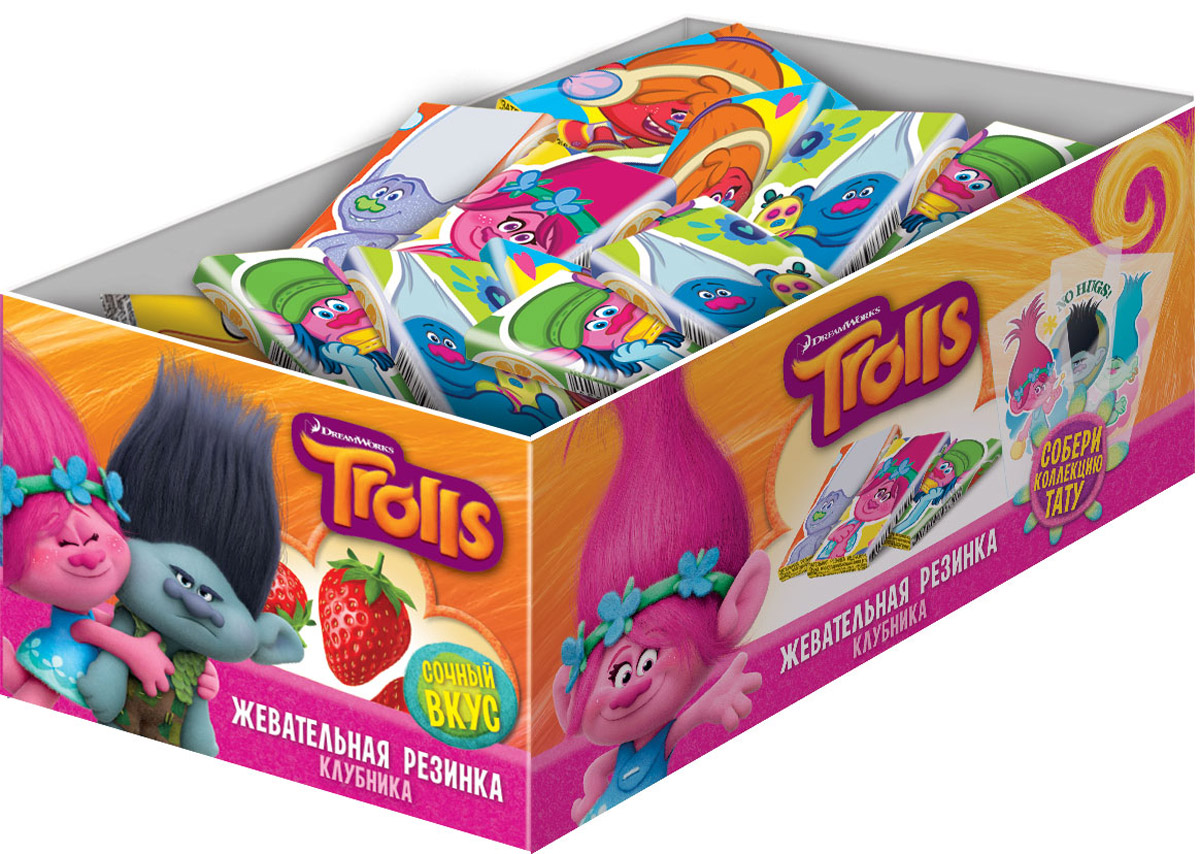 Trolls жевательная резинка с тату, 100 шт по 2,5 г жевательная резинка конфитрейд trolls вкусношарик с начинкой 100 шт по 4 г
