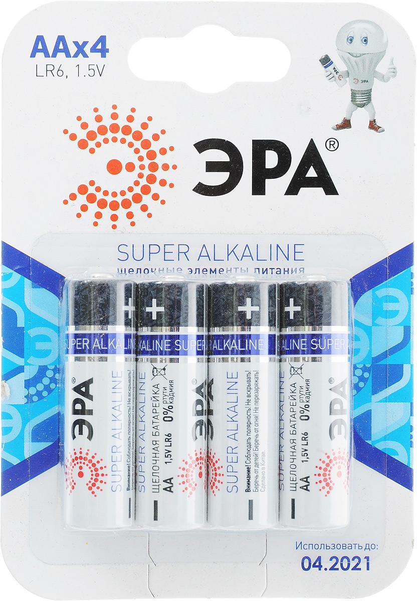 Батарейка алкалиновая ЭРА Energy, тип AA (LR6-4BL), 1,5В, 4 шт батарейка алкалиновая эра energy тип a27 1bl 12в