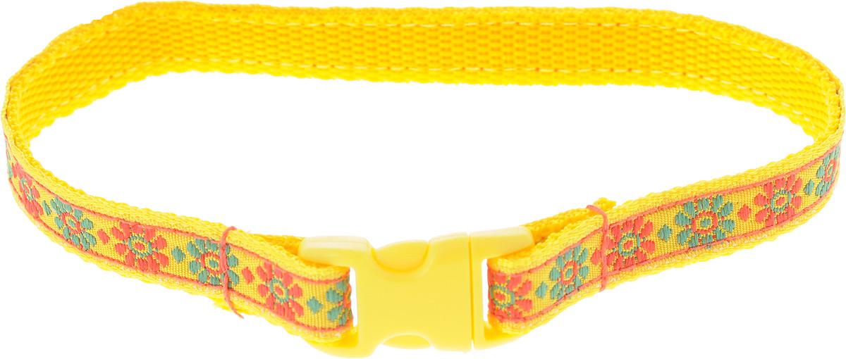 Ошейник для животных GLG Цветочки и сердечки, цвет: желтый, размер 1 х 28 см ошейник для животных glg цветочки и сердечки цвет бежевый оранжевый размер 1 х 24 5 см