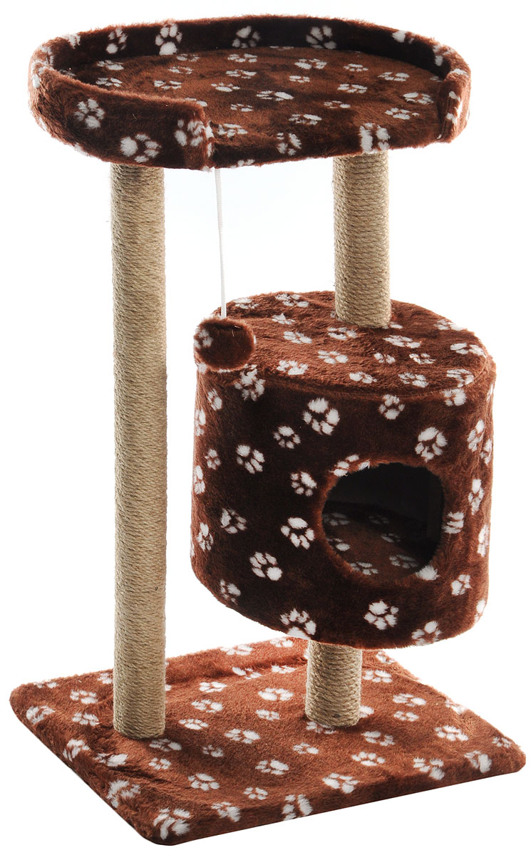 Домик-когтеточка Меридиан, круглый, с площадкой, цвет: коричневый, белый, 52 х 52 х 105 см домик когтеточка меридиан круглый с площадкой цвет белый черный бежевый 52 х 52 х 105 см