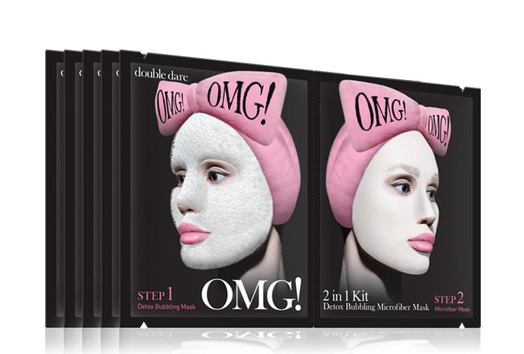 Double Dare OMG! Маска двухкомпонентная для глубокого очищения и питания кожи лица 2IN1 KIT Detox Bubbling Microfiber Mask estelare ампульная маска для лица глубокое очищение и детоксикация 1 day