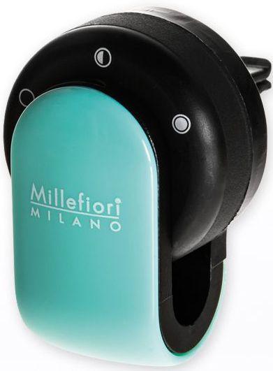 Ароматизатор в авто Millefiori Milano GO Сандал и бергамот, цвет: аквамарин, черный картридж ароматический millefiori milano сандал и бергамот sandalo bergamotto автомобильный