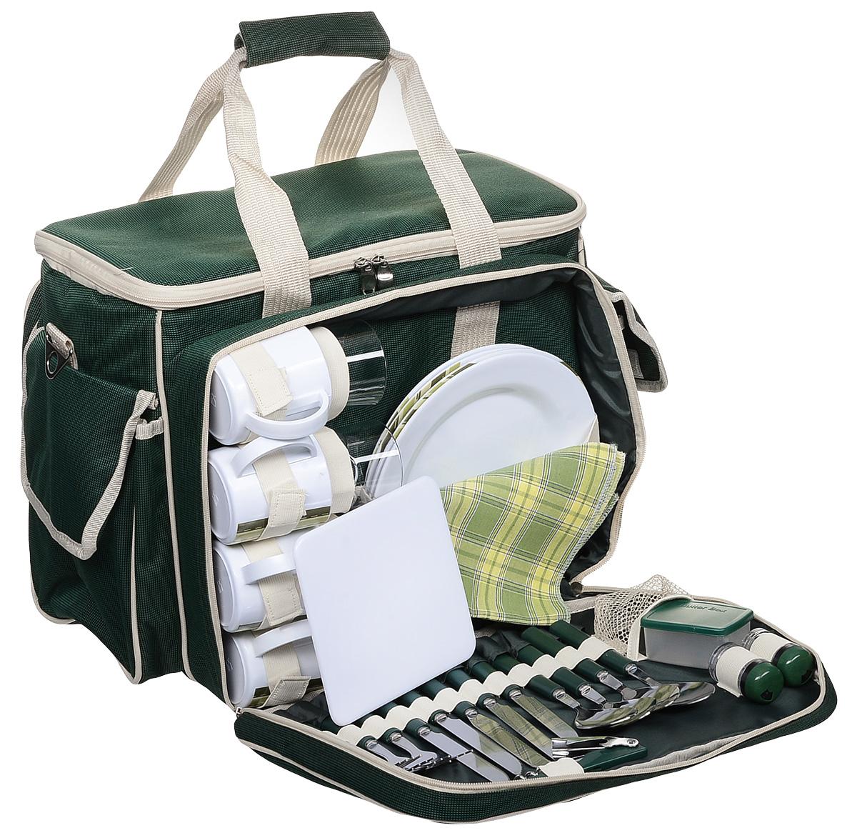 Набор для пикника Green Glade, 4 персоны, цвет: зеленый, бежевый, 35 предметов. T3134 цена