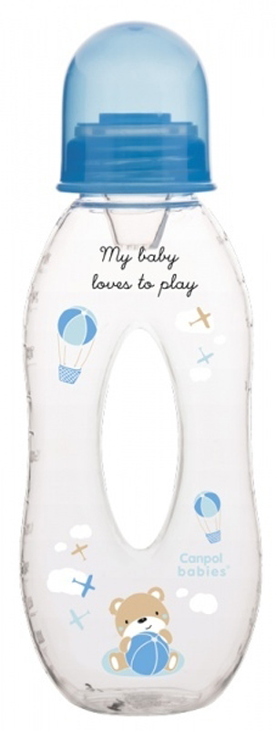 Canpol Babies Бутылочка с силиконовым носиком от 6 месяцев цвет синий 250 мл
