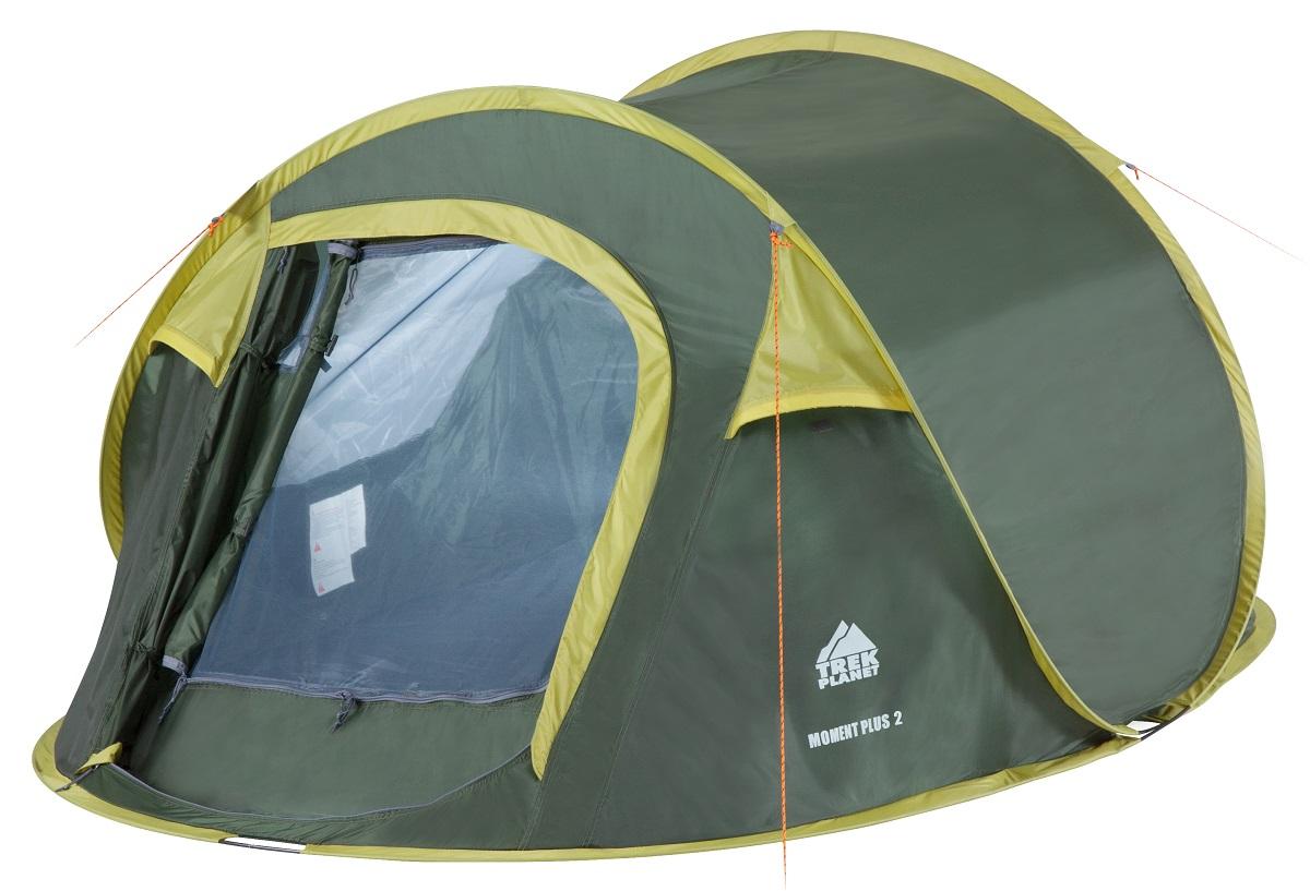 Палатка двухместная Trek Planet Moment Plus 2, цвет: темно-зеленый, светло-зеленый палатка trek planet moment 2