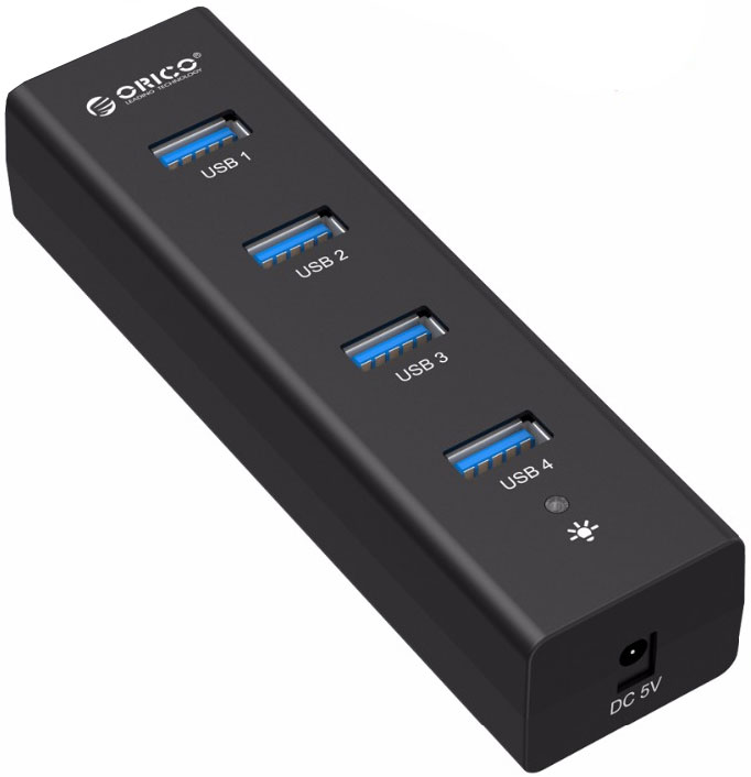Orico H4013-U3 USB-концентратор, Black концентратор usb orico h4013 u3 белый usb 3 0 x 4 возможность подключения дополнительного питания