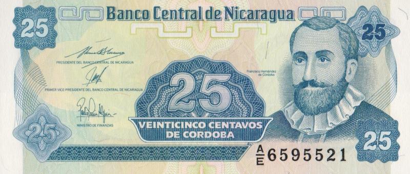 Банкнота номиналом 25 сентаво. Никарагуа, 1991 год банкнота номиналом 2 кордоба никарагуа 1972 год