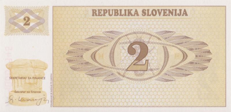 Банкнота номиналом 2 толара. Словения, 1990 годсирия200-2009Серия и номер банкноты могут отличаться от изображения.