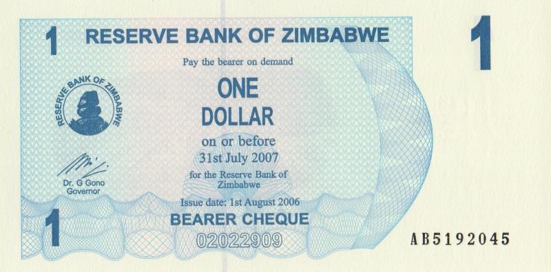Банкнота номиналом 1 доллар. Зимбабве. 2006 год банкнота номиналом 500 долларов зимбабве 2006 год