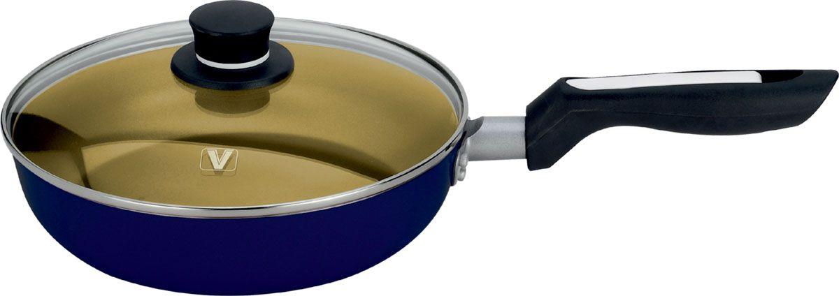 Сковорода Vitesse с крышкой, со съемной ручкой, с антипригарным покрытием, цвет: синий, золотой. Диаметр 24 см. + Лопатка кулинарная Vitesse, длина 25,5 см сковорода vitesse с крышкой с антипригарным покрытием цвет синий диаметр 20 см vs 2204 подарок лопатка кулинарная vitesse длина 25 5 см