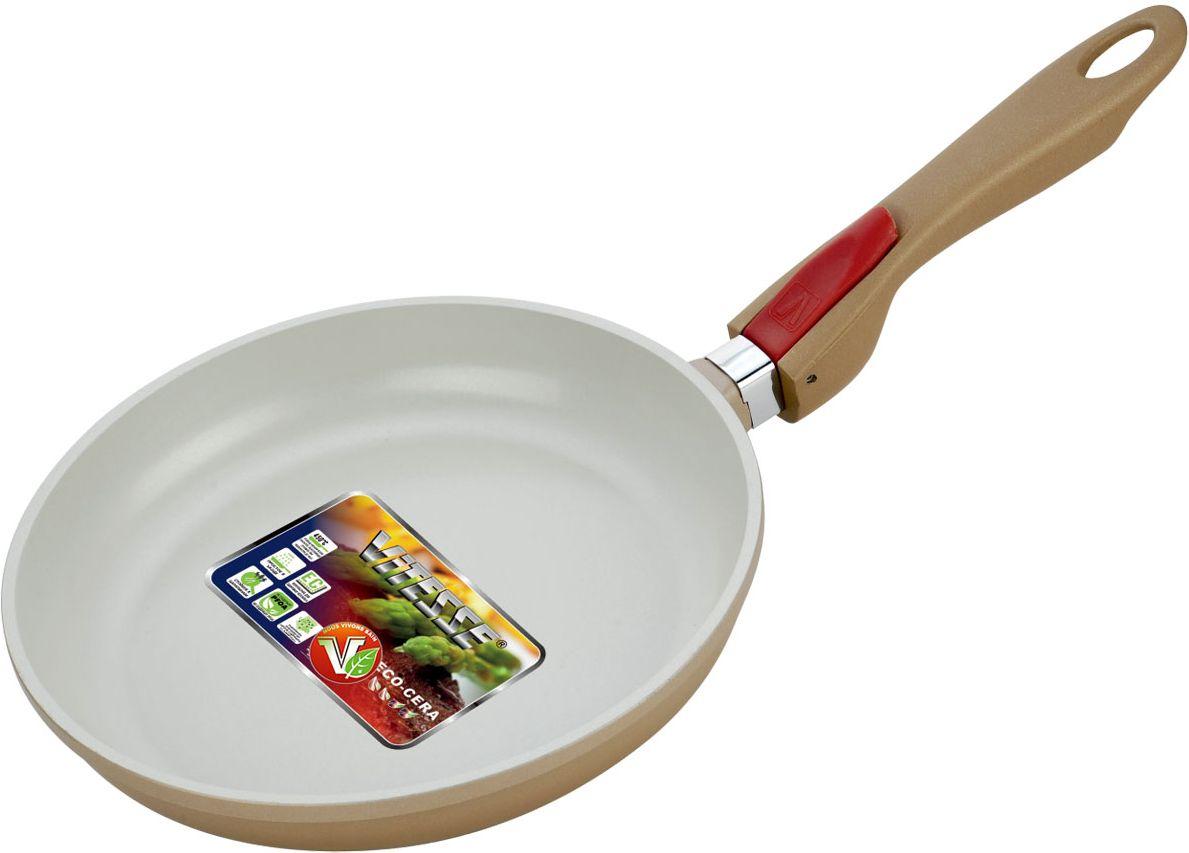 Сковорода Vitesse Frypan, со съемной ручкой, с антипригарным покрытием. Диаметр 24 см сковорода vitesse с крышкой с антипригарным покрытием со съемной ручкой цвет серебристый диаметр 20 см