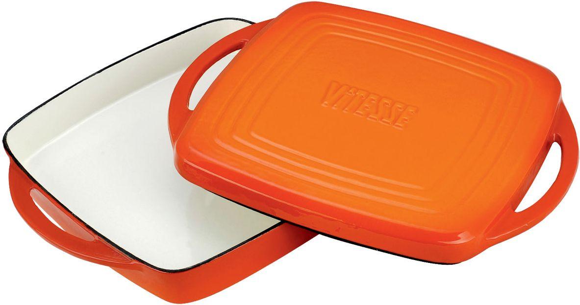 """Жаровня Vitesse """"Ferro"""" с крышкой-сковородой, цвет: оранжевый, 27 х 27 см + ПОДАРОК: Кухонные рукавицы, 2 шт"""