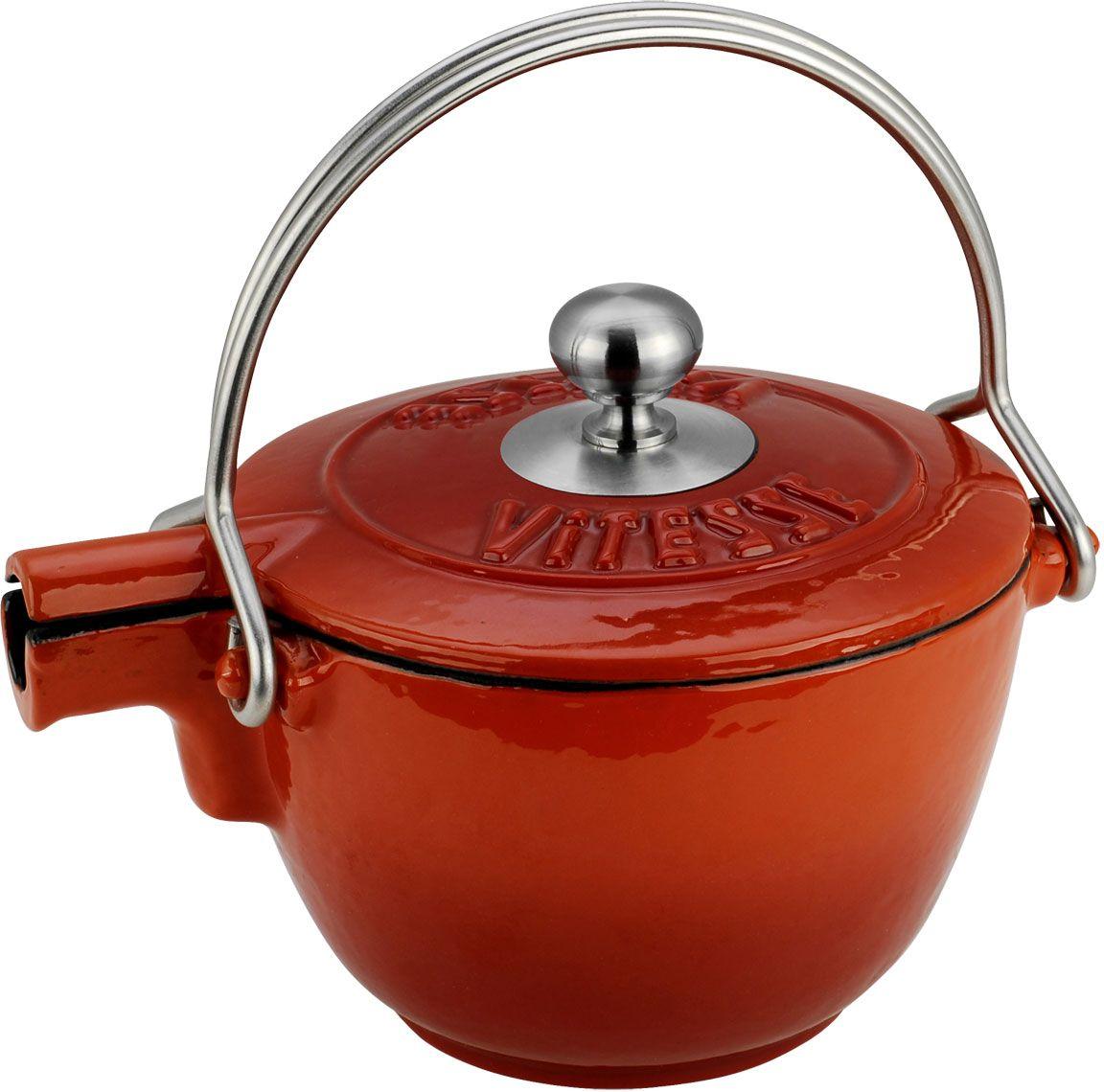 Чайник заварочный Vitesse Ferro, с ситечком, цвет: оранжевый, 1,15 л vitesse ferro