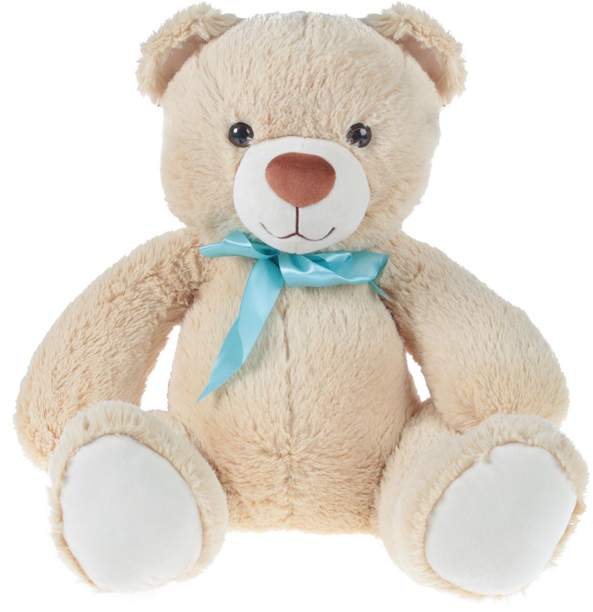 СмолТойс Мягкая игрушка Медвежонок цвет бежевый с бантиком 40 см смолтойс мягкая игрушка медвежонок монти 100 см