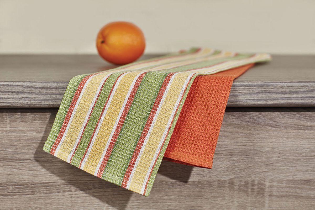 Набор кухонных полотенец Primavelle, цвет: зеленый, оранжевый, 40 х 60 см, 2 шт. НП35540602 набор кухонных полотенец atlas plus гжель 40 60 см 2 предмета