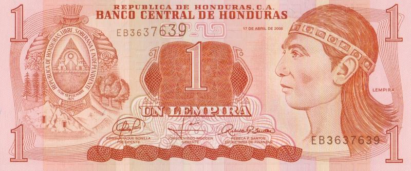 Банкнота номиналом 1 лемпира. Гондурас, 2008 год
