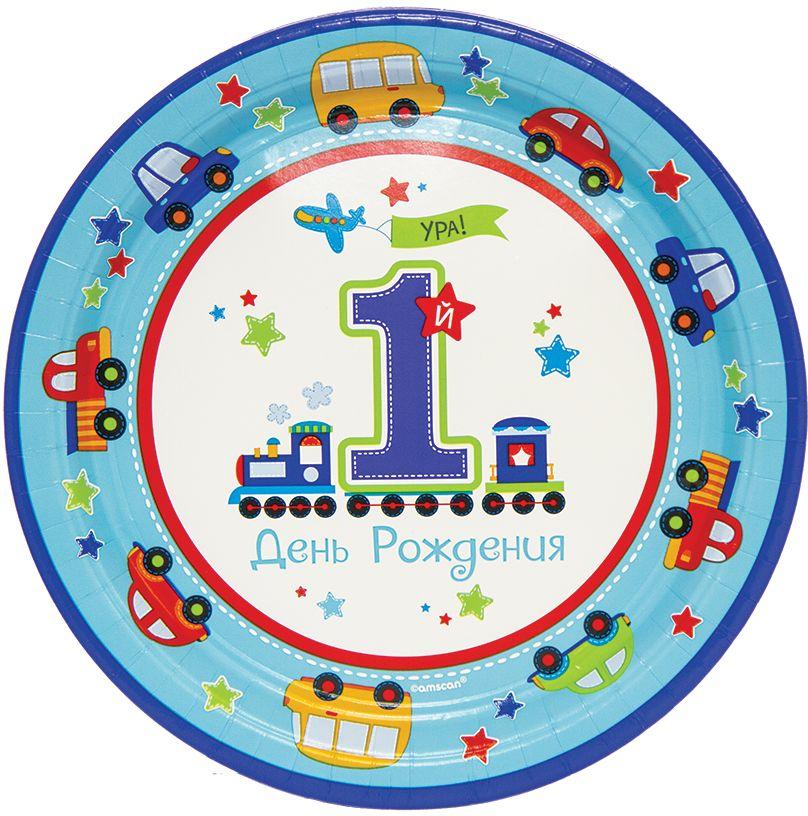Amscan Тарелка Первый день рождения Мальчик 25 см 8 шт