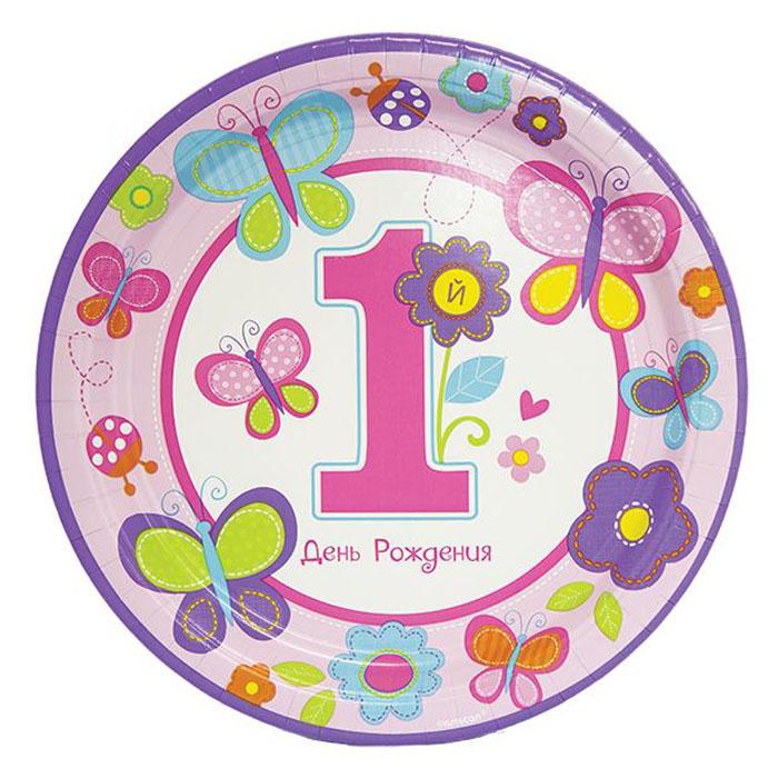 Amscan Тарелка Первый день рождения Девочка 25 см 8 шт