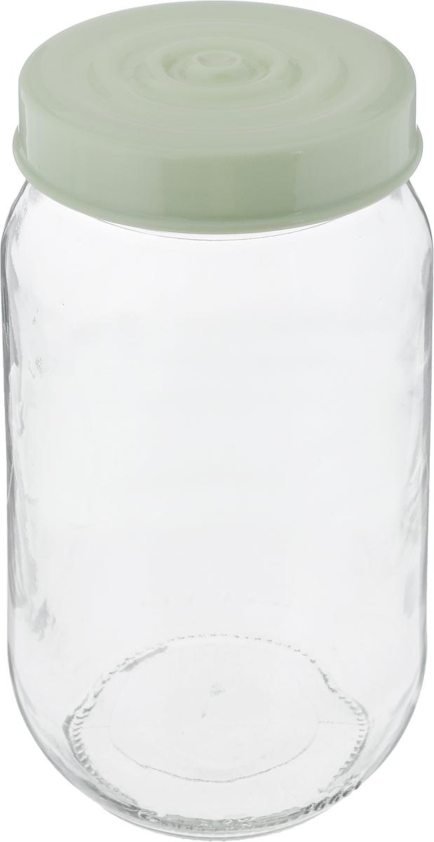 Банка для сыпучих продуктов Herevin, цвет: оливковый, прозрачный, 1 л. 140377-500 банка для сыпучих продуктов herevin цвет светло розовый прозрачный 660 мл 140367 500