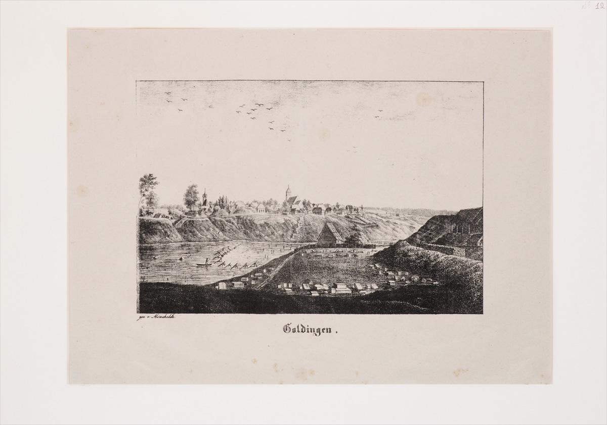 Goldingen. Литография. Германия, начало XIX века
