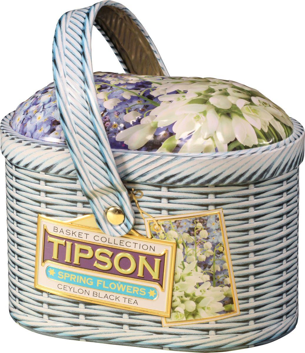 Tipson Basket-Spring черный листовой чай с лепестками василька, 80 г (жестяная банка) basilur frosty afternoon черный листовой чай 100 г жестяная банка