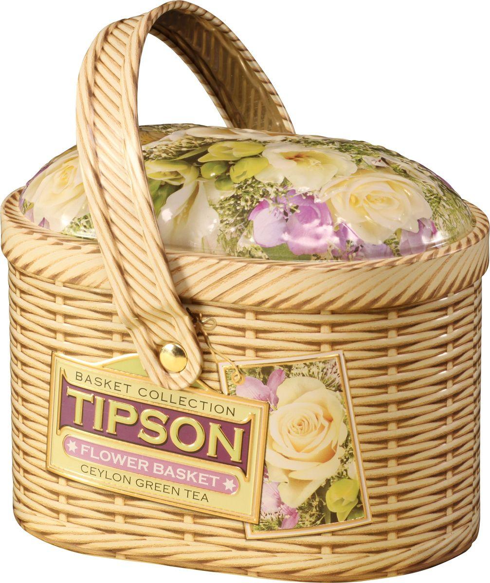Tipson Basket-Flower зеленый листовой чай с лепестками цветов, 80 г (жестяная банка) basilur frosty afternoon черный листовой чай 100 г жестяная банка
