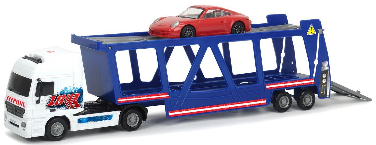 Dickie Toys Трейлер Автовоз с машинкой Porsche машины dickie машина mater