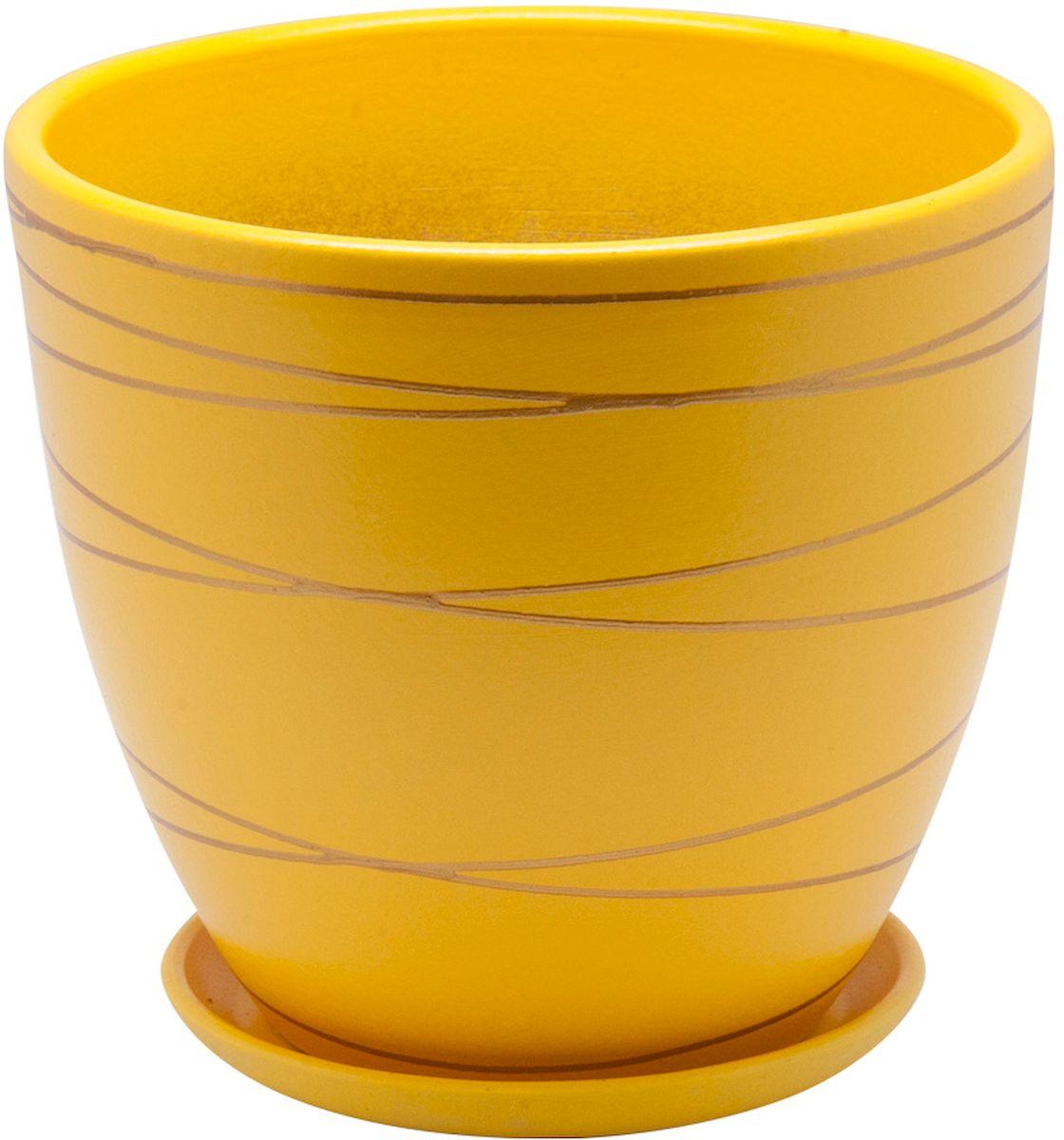Горшок цветочный Engard, с поддоном, цвет: желтый, 1,4 л. BH-25-1 горшок керамический с поддоном листок 4 7 л желтый