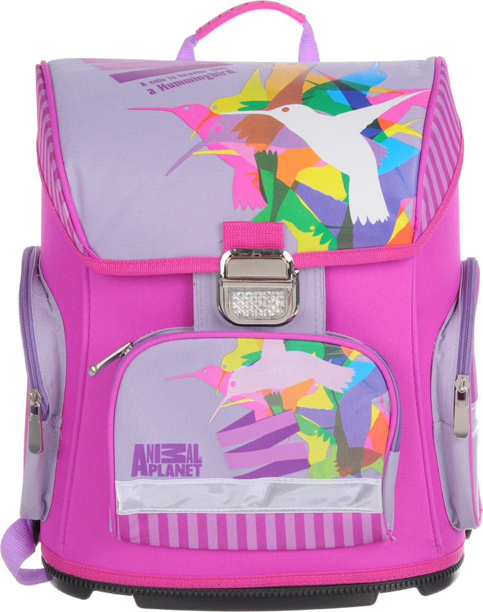 Action! Ранец школьный Animal Planet Колибри цвет фиолетовый розовый