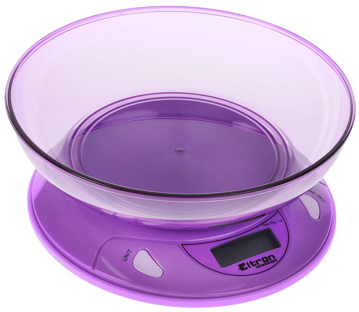 Весы кухонные Eltron, электронные, цвет: фиолетовый, до 5 кг весы eltron el 9219
