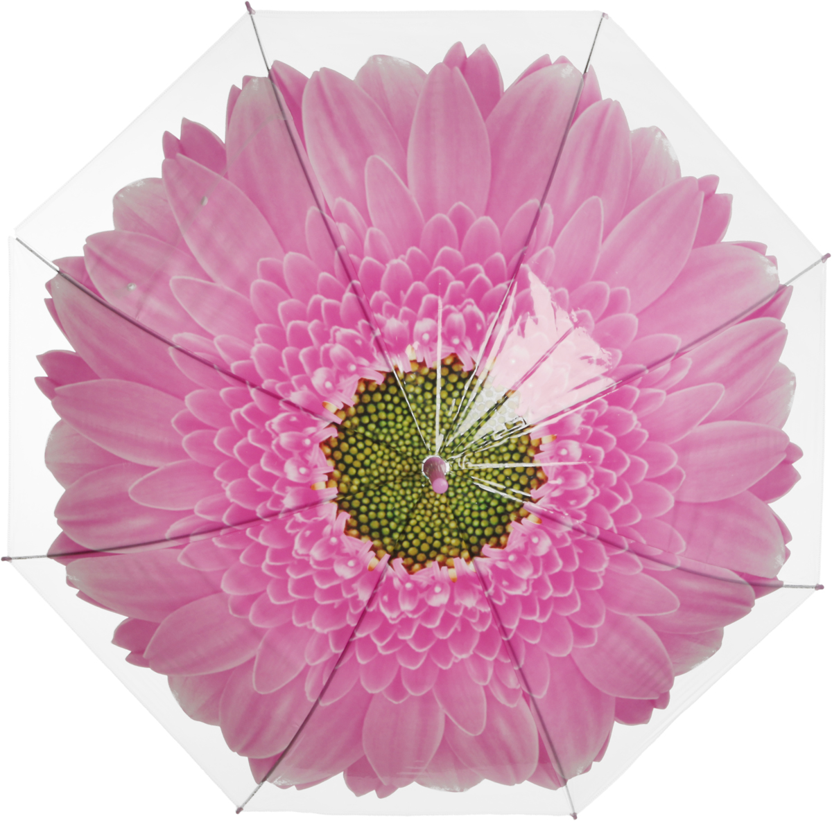 Зонт-трость женский Эврика Цветок, механический, цвет: розовый, белый. 97856
