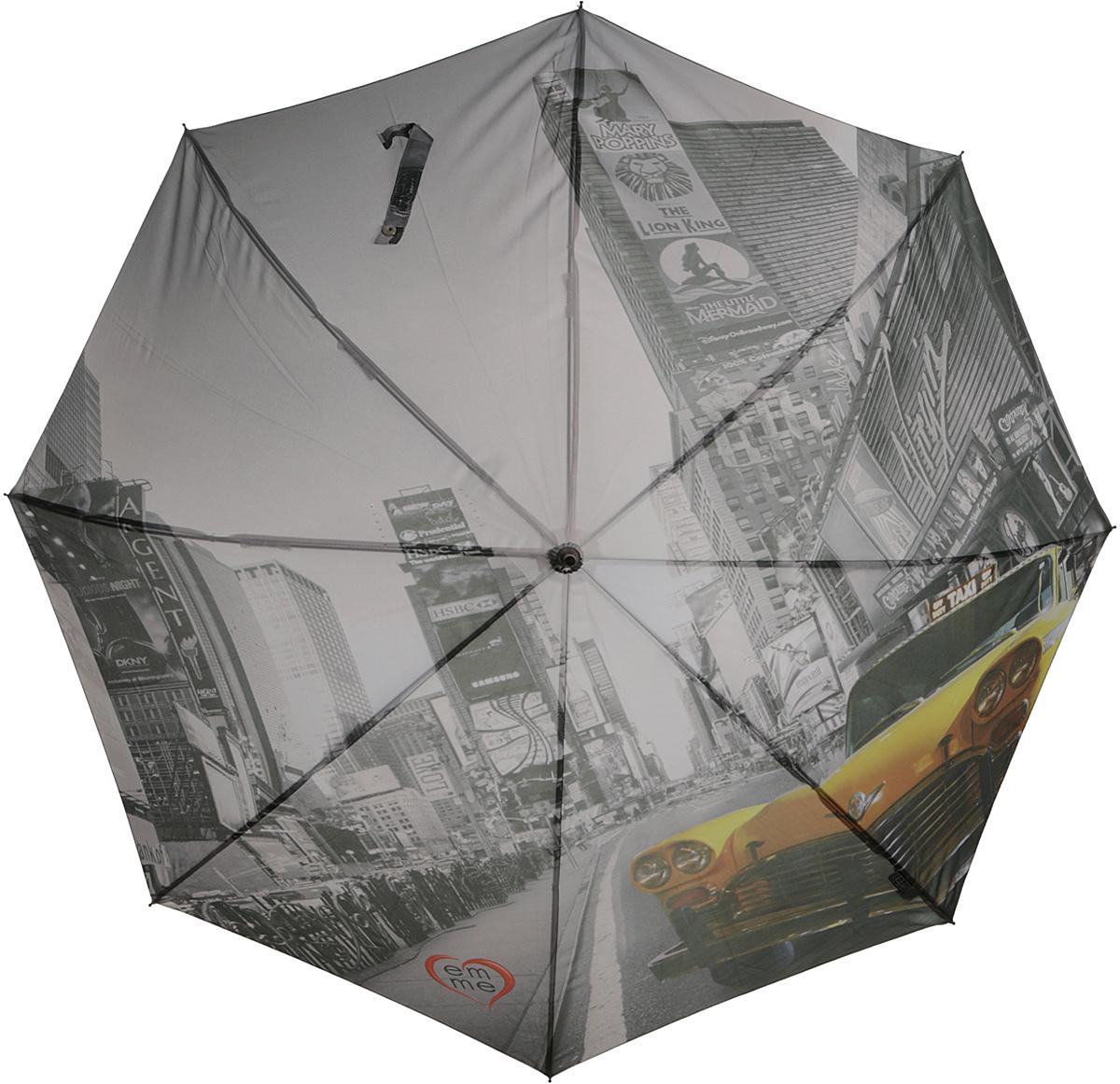 Зонт-трость женский Emme, полуавтомат, цвет: серый, желтый. Е/M405-LA/New York