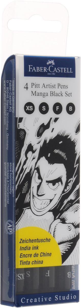 Faber-Castell Капиллярные ручки Pitt Artist Pen Manga Black Set 4 шт
