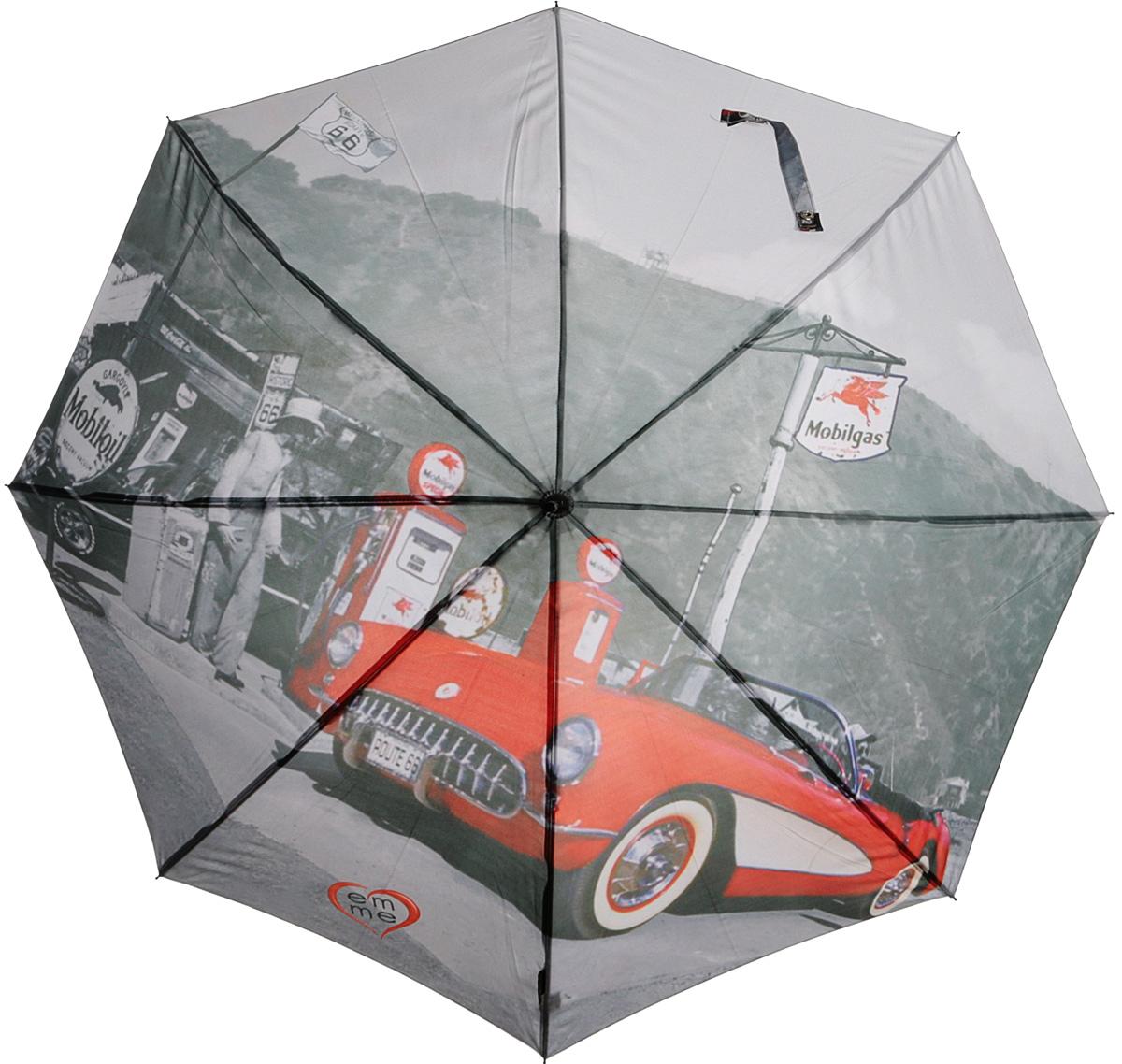 Зонт-трость женский Emme, полуавтомат, цвет: серый, красный. Е/M405-LA/Hollywood