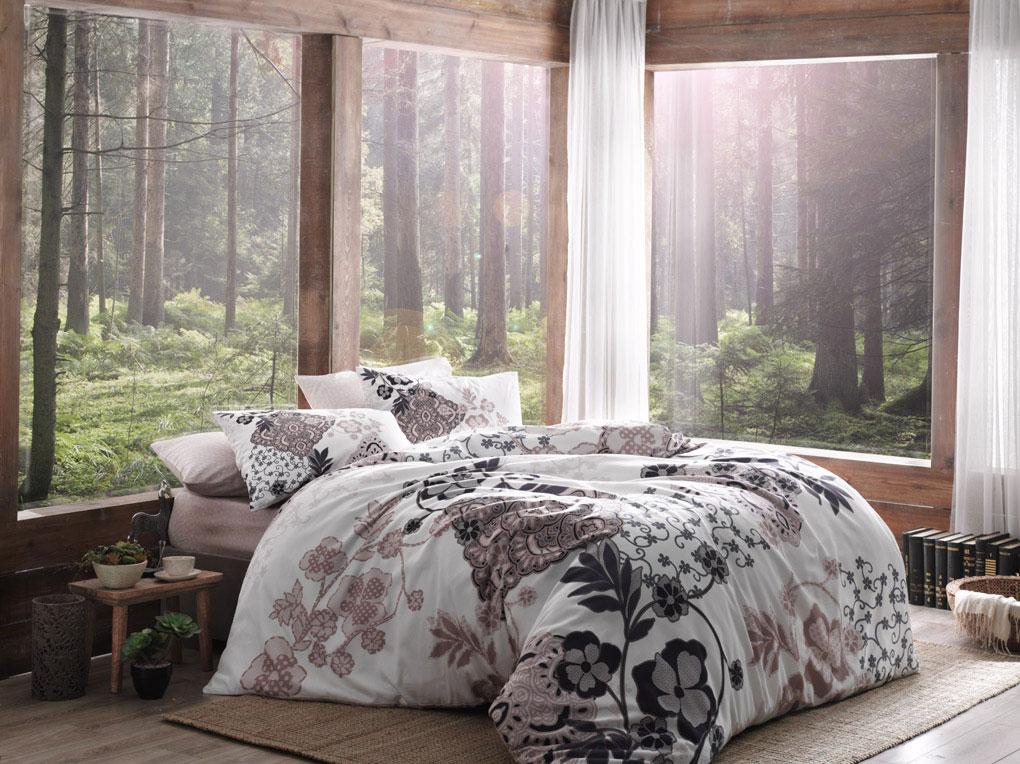 Комплект белья TAC Bertha, 2-спальный, наволочки 50x70, цвет: белый, бежевый, коричневый цена