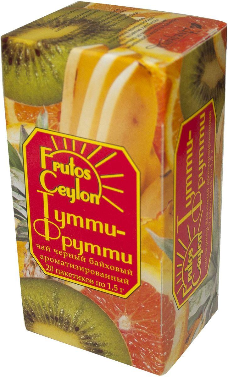 Frutos Ceylon Тутти-фрутти черный ароматизированный чай в пакетиках, 20 шт зубная паста babyline тутти фрутти