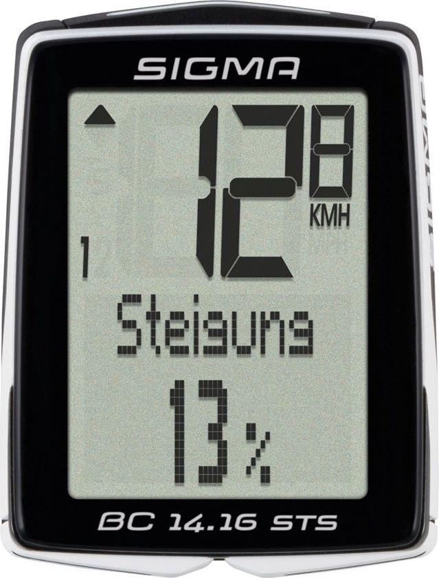 Велокомпьютер Sigma Topline BC 14.16 STS CAD, 14 функций велосипелный датчик скорости и вращения педалей wahoo blue sc