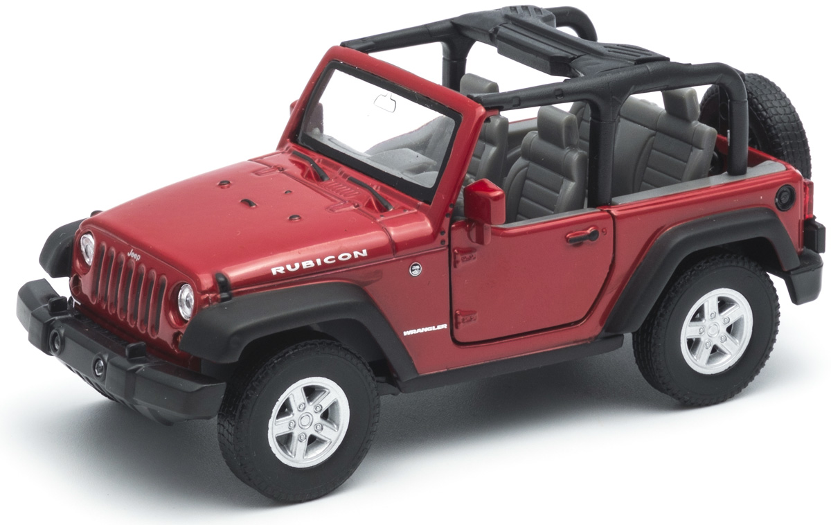 цена на Welly Модель автомобиля Jeep Wrangler Rubicon цвет красный