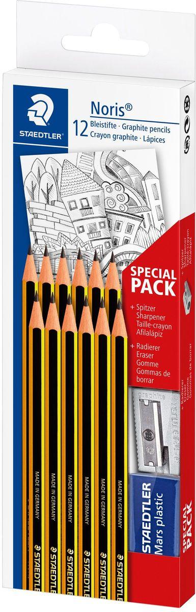 Staedtler Набор чернографитовых карандашей Noris 120 НВ 12 шт с ластиком и точилкой