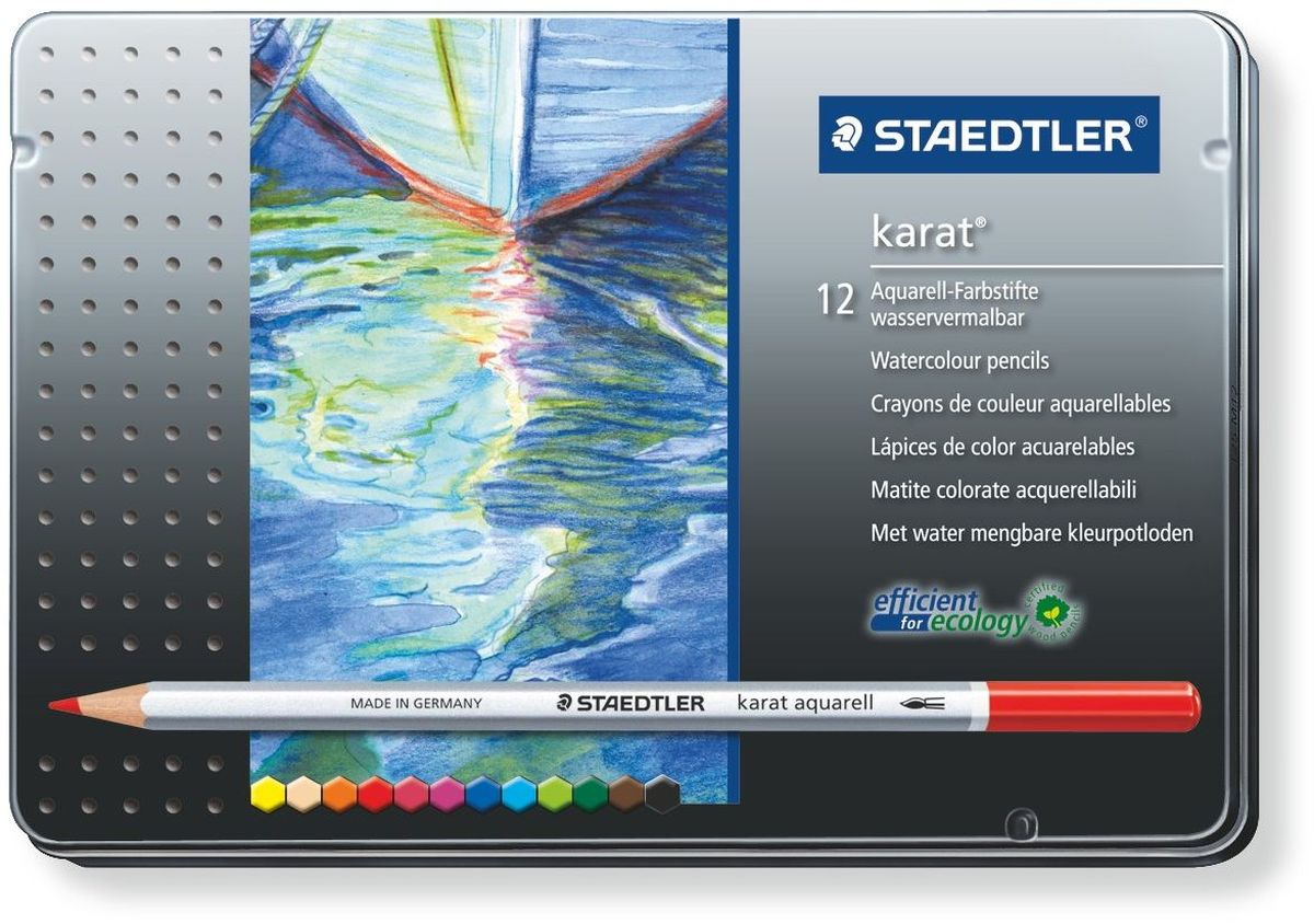 Staedtler Набор акварельных карандашей Karat Aquarell 125 12 шт набор карандашей акварельных mondeluz 24 цв