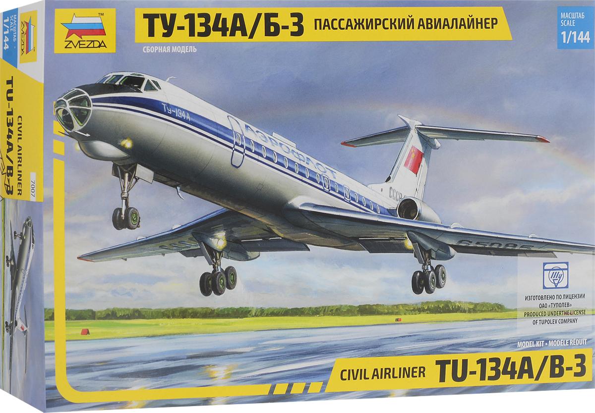 Фото - Звезда Сборная модель Пассажирский авиалайнер Ту-134А/Б-3 пассажирский авиалайнер ту 134 а б 3 в кор 20шт