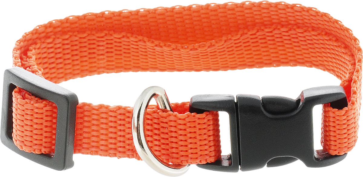 Ошейник для животных GLG Эконом, цвет: оранжевый, ширина 1 см, обхват шеи 18-28 см ошейник для животных glg цветочки и сердечки цвет бежевый оранжевый размер 1 х 24 5 см