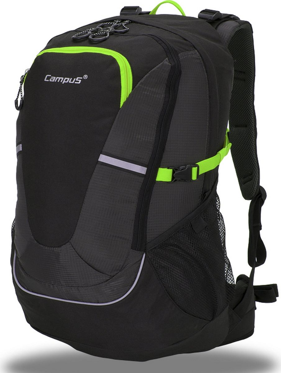 Рюкзак туристический Campus Horton 2, цвет: черный, зеленый, 45 л. 5038025132241
