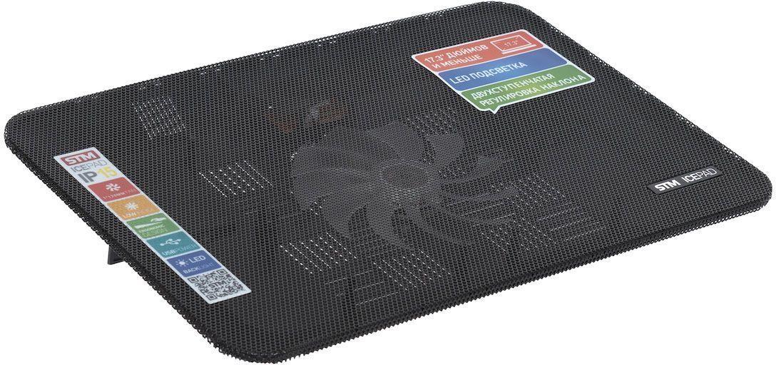 STM IP15, Black охлаждающая подставка для ноутбука crown micro cmls 01 black red охлаждающая подставка для ноутбука 17