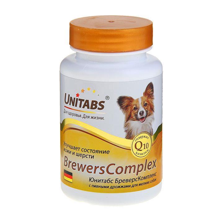 Кормовая добавка для мелких собак Unitabs Brevers Complex, с пивными дрожжами, 100 шт добавка q10